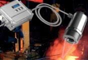 Optris CTlaser 1M-2M pyrometer temperature sensor suitable for molten metal applications at high temperatures.